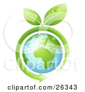 Clipart Illustration Of Wet Green Leaves Sprouting From A Green Arrow Circling Around The Earth by beboy