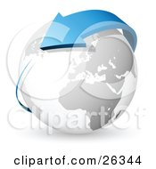 Clipart Illustration Of A Blue Arrow Circling Around A White And Gray Earth by beboy