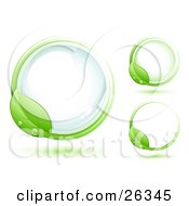 Clipart Illustration Of A Green Leaf Wet With Dew Circling Around A Blue Glass Orb Including Two Other Versions by beboy #COLLC26345-0058
