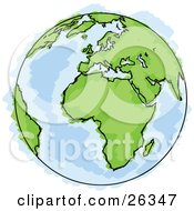 Clipart Illustration Of A Drawing Of Planet Earth With Green Continents And Blue Seas Some Coloring Out Of The Lines by beboy