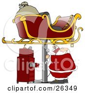 Clipart Illustration Of A Sleigh Up On A Jack In A Garage With Santa Repairing It For Christmas Flight