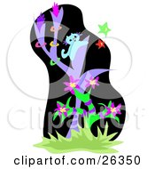 Clipart Illustration Of A Curious Blue Cat In A Purple Tree Trying To Catch Colorful Stars In A Jungle by bpearth
