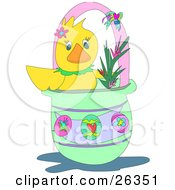 Clipart Illustration Of A Cute Yellow Duck With Flowers In An Easter Basket