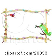 Stationery Border Or Frame Of A Chameleon On A Twig Staring At A Snake Twined Around Wood