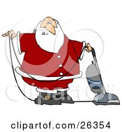 Santa In Uniform Vacuuming Carpet With A Vacuum