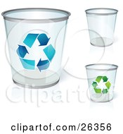 Three Clear Trash Cans One With Blue Recycle Arrows One With Green Recycle Arrows Over A White Background