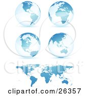 Clipart Illustration Of Four Blue Globes Showing Different Continents With A Flat Map Over White by beboy