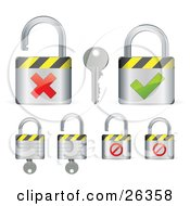 Clipart Illustration Of A Group Of Locked And Unlocked Padlocks With Keys Red X Marks And Green Check Marks