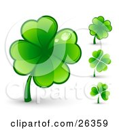 Clipart Illustration Of A Big Green Four Leaf Clover With Two Dew Drops On The Leaves Also Includes Three Other Clovers