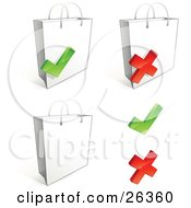Three White Shopping Bags With Check Marks And X Marks