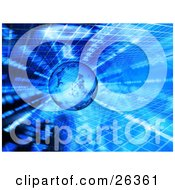 Clipart Illustration Of A Transparent Globe Over A Blue Grid And Binary Coding Background by KJ Pargeter