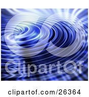 Clipart Illustration Of A Background Of Rippling Blue Water Swirling Towards The Center With Bright Light Reflecting Off Of The Surface