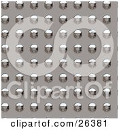 Clipart Illustration Of A Background Of Chrome Rivets In Rows by KJ Pargeter
