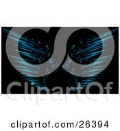 Blue Fractal Forming Two Wings Of An Angel Or Butterfly Over A Black Background