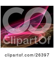 Clipart Illustration Of A Wispy Pink And Yellow Fractal Curving Over A Black Background by KJ Pargeter