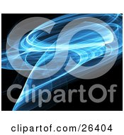 Clipart Illustration Of A Wispy Blue And White Fractal Curving Over A Black Background by KJ Pargeter