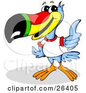 Blue Toucan Bird With A Red Yellow Green And Black Beak Wearing A White T Shirt And Giving The Thumbs Up