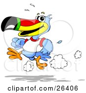 Blue Toucan Bird With A Red Yellow Green And Black Beak Wearing A White T Shirt And Running On A Track