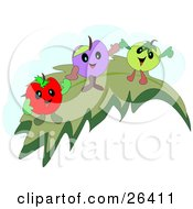 Clipart Illustration Of A Red Purple And Green Cherries Dancing On A Leaf by bpearth