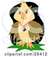 Clipart Illustration Of A Brown Owl Wearing A Yin Yang Necklace At Night Time by bpearth