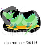 Clipart Illustration Of A Musical Green Dragon Singing Or Howling by bpearth