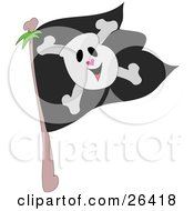 Smiling Skull And Crossbones On A Black Jolly Roger Pirate Flag
