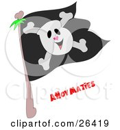 Clipart Illustration Of A Smiling Skull And Crossbones On A Black Jolly Roger Pirate Flag And Ahoy Maties Text