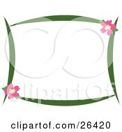 Clipart Illustration Of A Stationery Border Of Green Branches And Pink Hibiscus Flowers Over White by bpearth