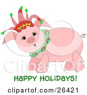 Clipart Illustration Of A Happy Pink Pig Wearing A Christmas Jester Hat With Happy Holidays Text by bpearth