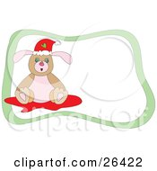 Clipart Illustration Of A Christmas Dog Wearing A Santa Hat And Sitting On A Rug With A Green Border And White Background by bpearth