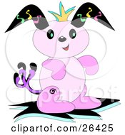 Clipart Illustration Of A Pink Alien Bunny Rabbit With Black Ears by bpearth