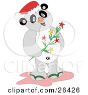 Clipart Illustration Of A Happy Christmas Panda Wearing A Santa Hat And Holding A Branch Of Flowers by bpearth