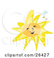 Clipart Illustration Of A Happy Smiling Yellow Sun With Colorful Stars Over White by bpearth