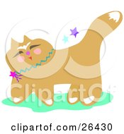 Clipart Illustration Of A Happy Japanese Cat Wearing A Blue Collar With Stars