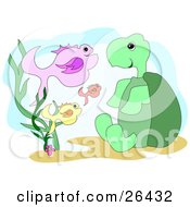 Clipart Illustration Of A Friendly Green Turtle Sitting And Chatting With Fish Underwater by bpearth