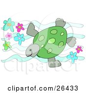 Clipart Illustration Of A Happy Green Sea Turtle Swimming With Flowers In The Water by bpearth