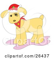Clipart Illustration Of A Christmas Dog Wearing A Santa Hat And A Red Bandana by bpearth
