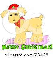 Clipart Illustration Of A Christmas Dog Wearing A Santa Hat And A Red Bandana With Merry Christmas Text by bpearth