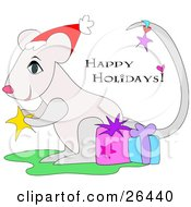 Clipart Illustration Of A White Christmas Mouse Wearing A Santa Hat Holding A Star And Standing With Gifts With Happy Holidays Text by bpearth