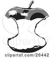 Clipart Illustration Of An Apple Core With A Stem On The Top Black And White by David Rey
