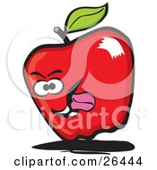 Red Apple Character Sticking Its Tongue Out