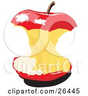Clipart Illustration Of A Red Apple Core With A Stem On The Top by David Rey