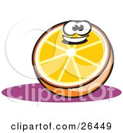 Clipart Illustration Of A Happy Halved Orange Character Resting On A Purple Counter by David Rey
