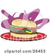 Clipart Illustration Of A Juicy Cheeseburger With Lettuce And Tomatoes Resting On A Red Plate by David Rey
