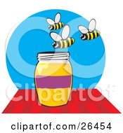 Clipart Illustration Of A Group Of Grinning Bees Buzzing Above A Honey Jar