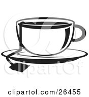 Clipart Illustration Of A Cup Of Hot Tea On A Saucer In Black And White