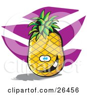 Clipart Illustration Of A Goofy Pineapple Character Smiling With A Purple And White Background by David Rey