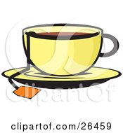 Clipart Illustration Of The String Of A Tea Bag Hanging Out Of A Cup Of Hot Tea On A Saucer by David Rey