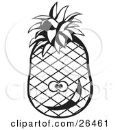 Clipart Illustration Of A Goofy Pineapple Character Smiling Black And White by David Rey