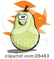 Clipart Illustration Of A Smiling Green Pear Character With An Orange And White Background by David Rey